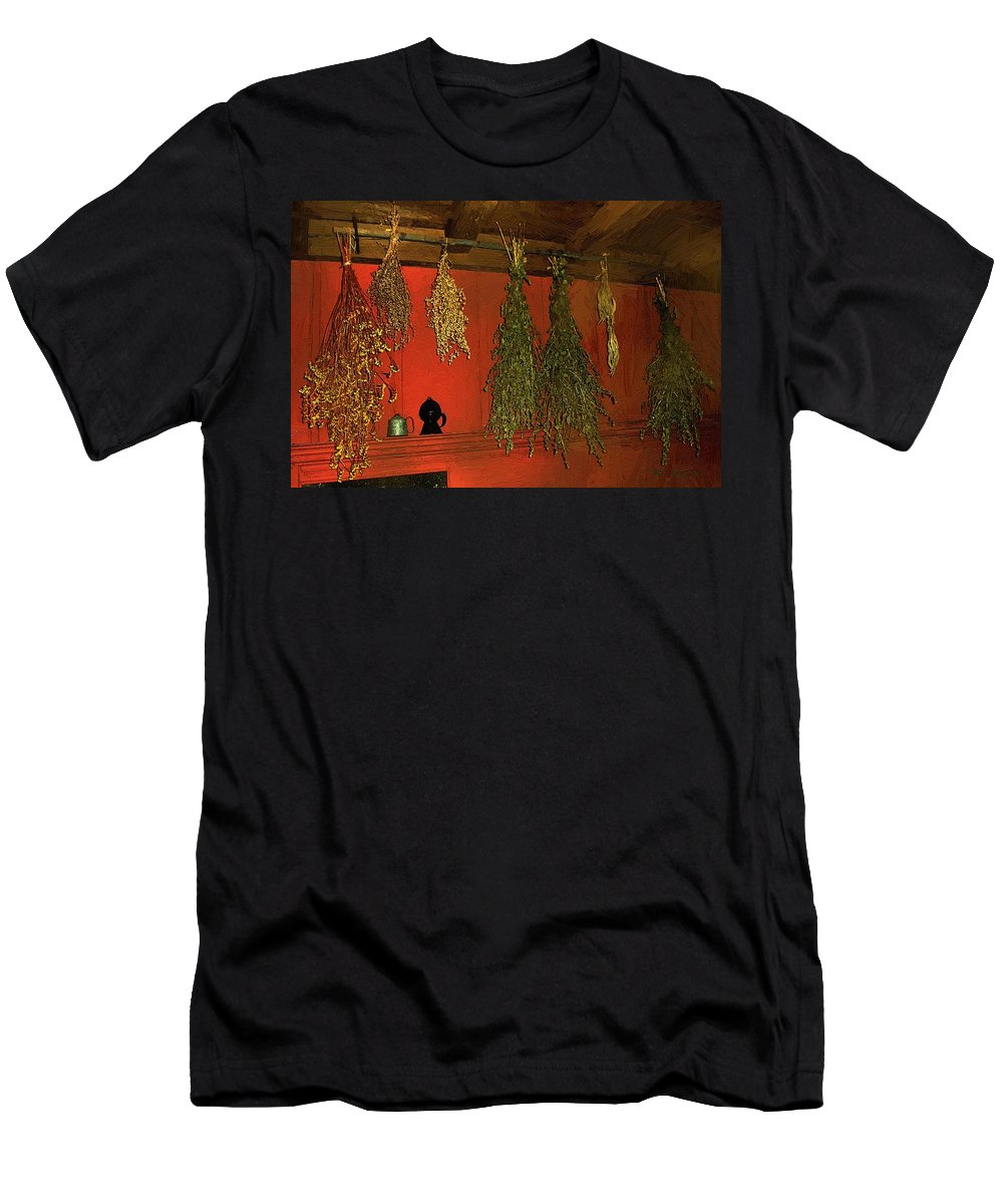 Herbs Men's T-Shirt (Athletic Fit) featuring the painting Harvest Of Herbs by RC DeWinter