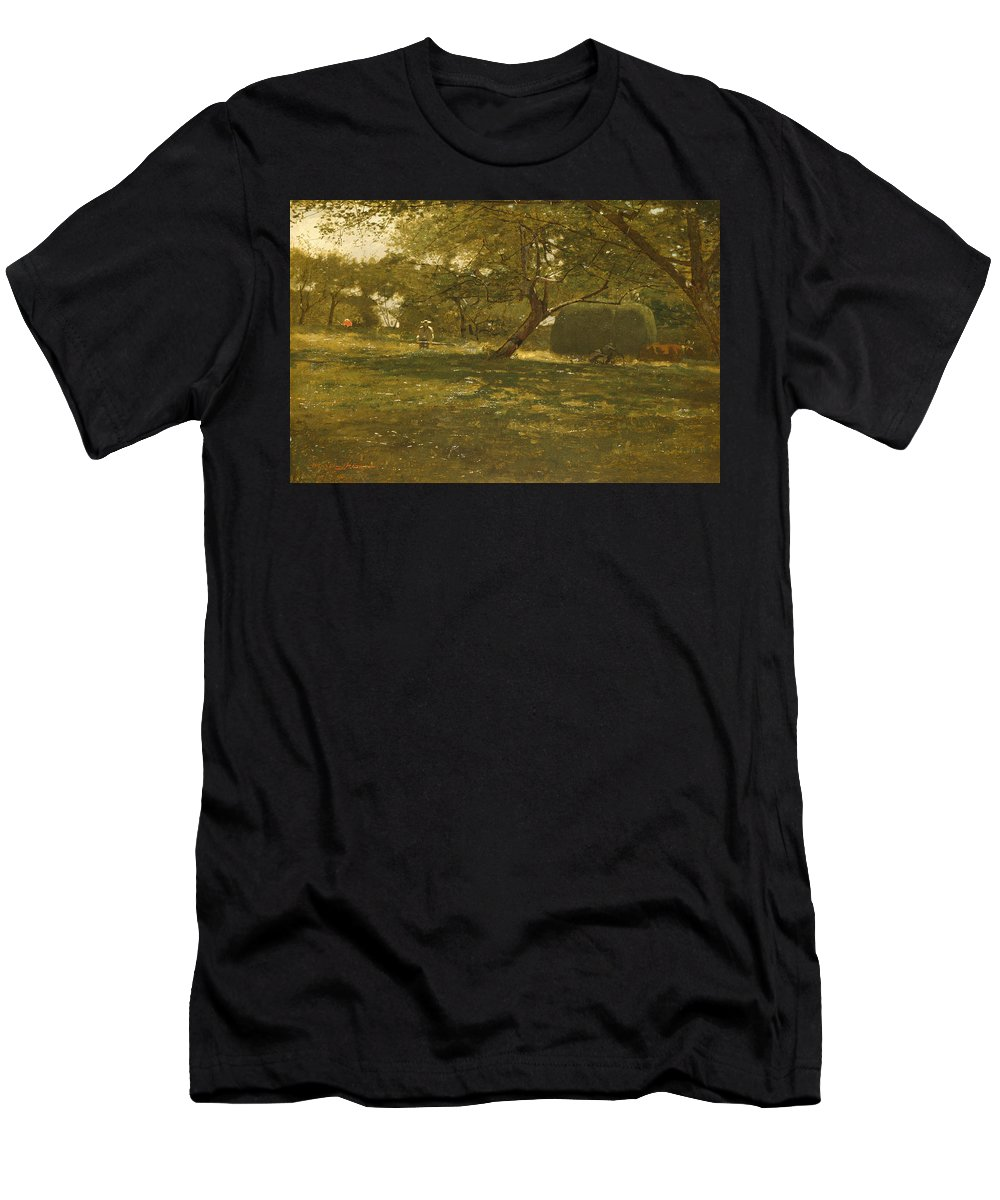 Winslow Homer Men's T-Shirt (Athletic Fit) featuring the painting Harvest Scene by Winslow Homer