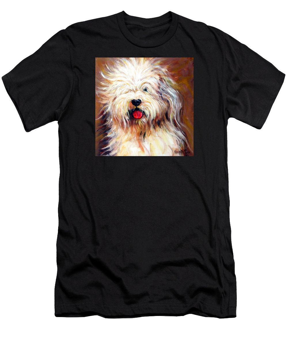 Sheepdog Men's T-Shirt (Athletic Fit) featuring the painting Harvey The Sheepdog by Rebecca Korpita
