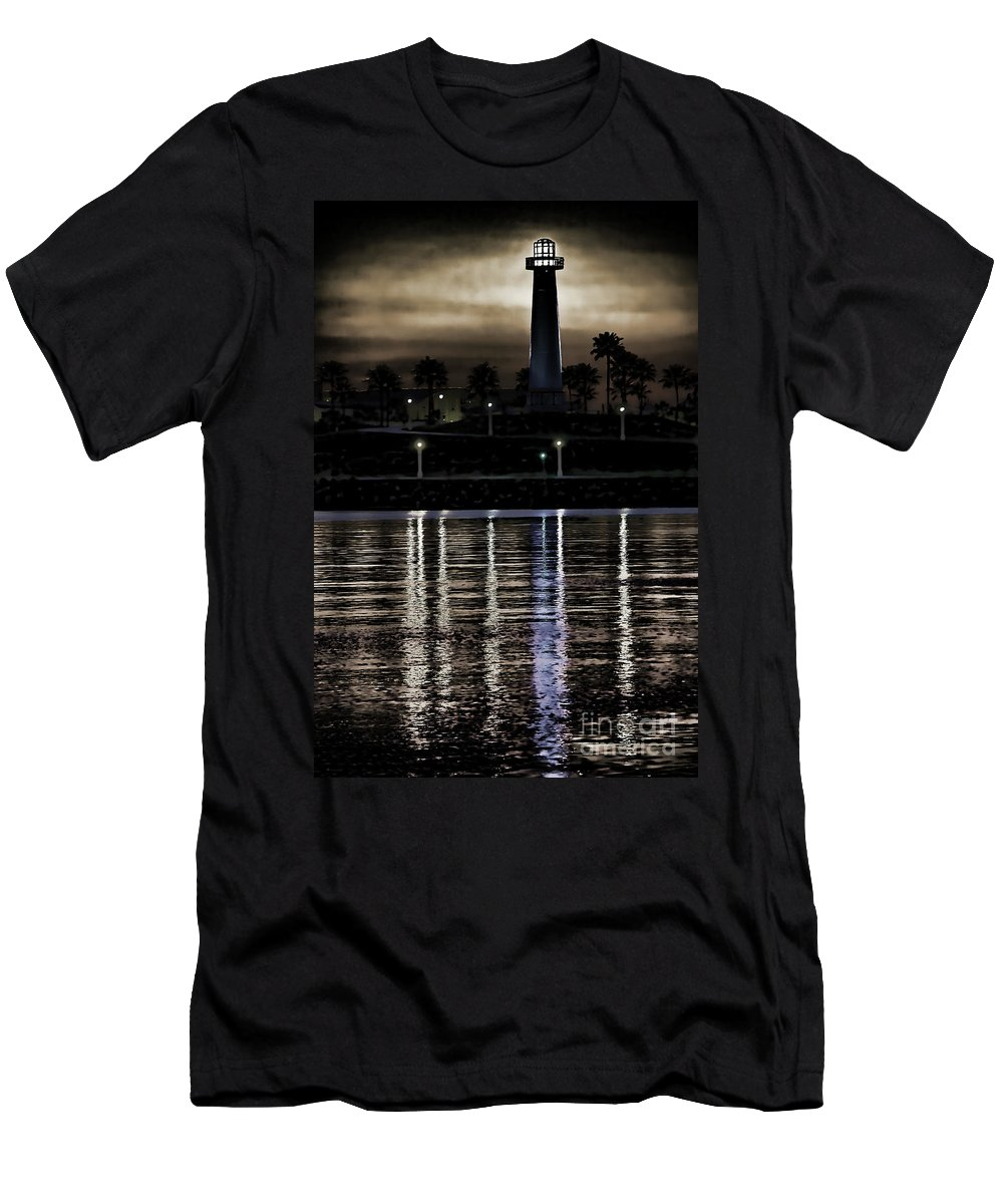 Lighthouse At Queensway Bay Men's T-Shirt (Athletic Fit) featuring the digital art Haunted Lighthouse by Mariola Bitner