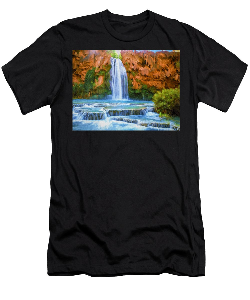 Fine Art Men's T-Shirt (Athletic Fit) featuring the painting Havasu Falls by David Wagner