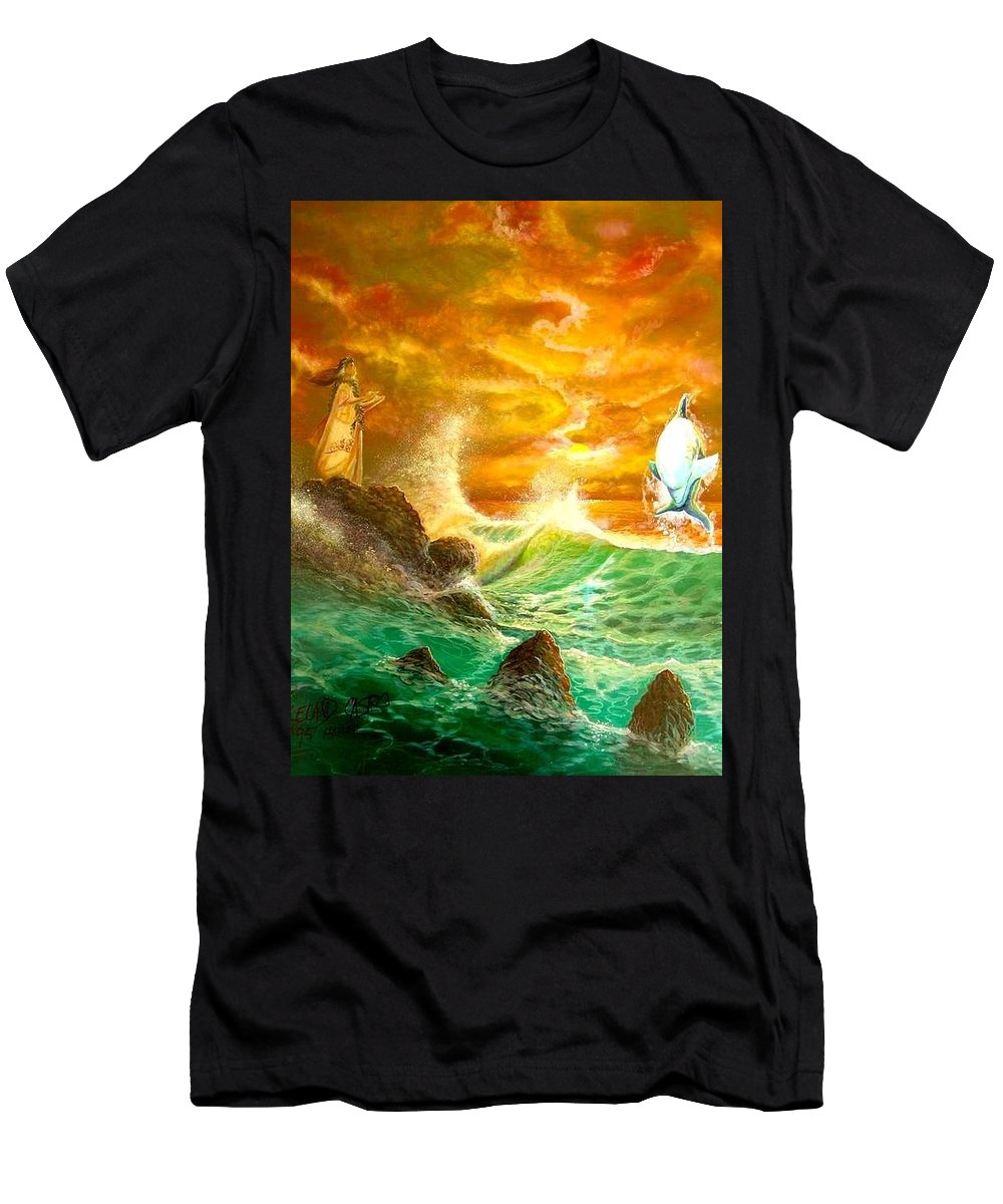 Hawaii Seascape Men's T-Shirt (Athletic Fit) featuring the painting Hawaiian Spirit Seascape by Leland Castro