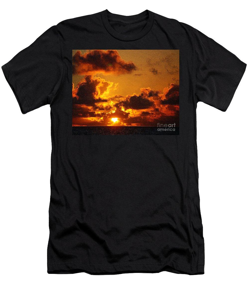 Orange Sky Men's T-Shirt (Athletic Fit) featuring the photograph Hawaiian Sunrise by Flamingo Graphix John Ellis