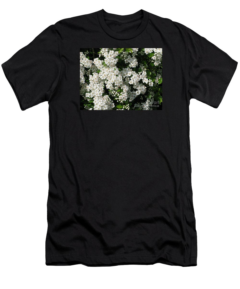 Hawthorn Men's T-Shirt (Athletic Fit) featuring the photograph Hawthorn In Bloom by Ann Horn