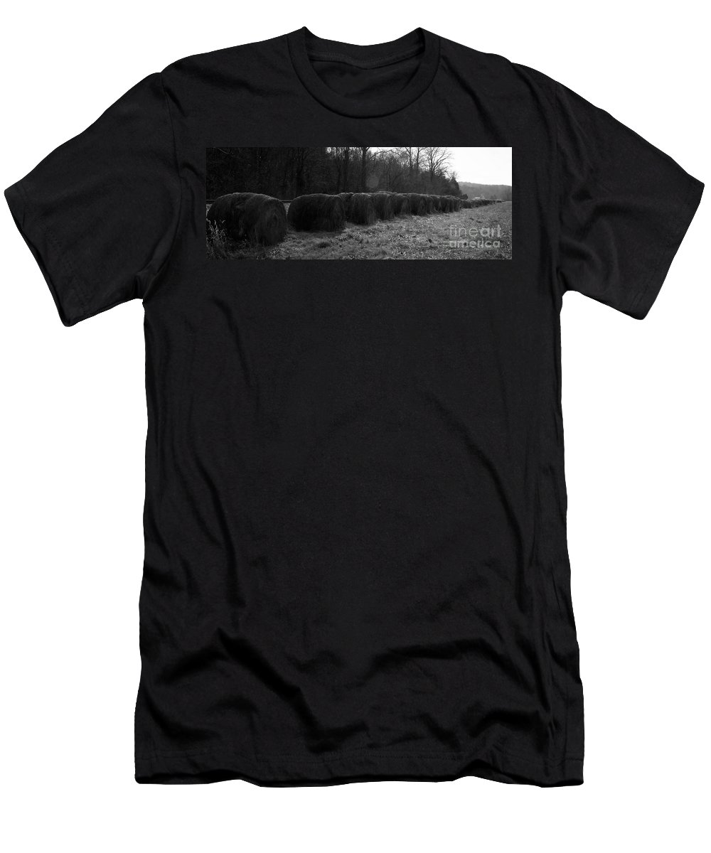 Hay Men's T-Shirt (Athletic Fit) featuring the photograph Hay Bales Bw by Teresa Mucha