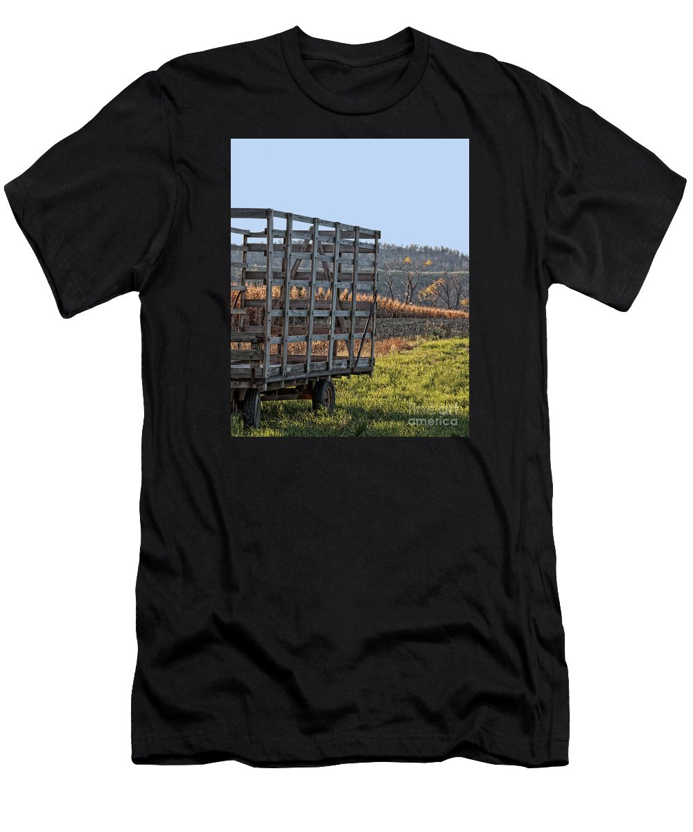 Hay Wagon Men's T-Shirt (Athletic Fit) featuring the photograph Hay Wagon In Field by Timothy Flanigan and Debbie Flanigan Nature Exposure