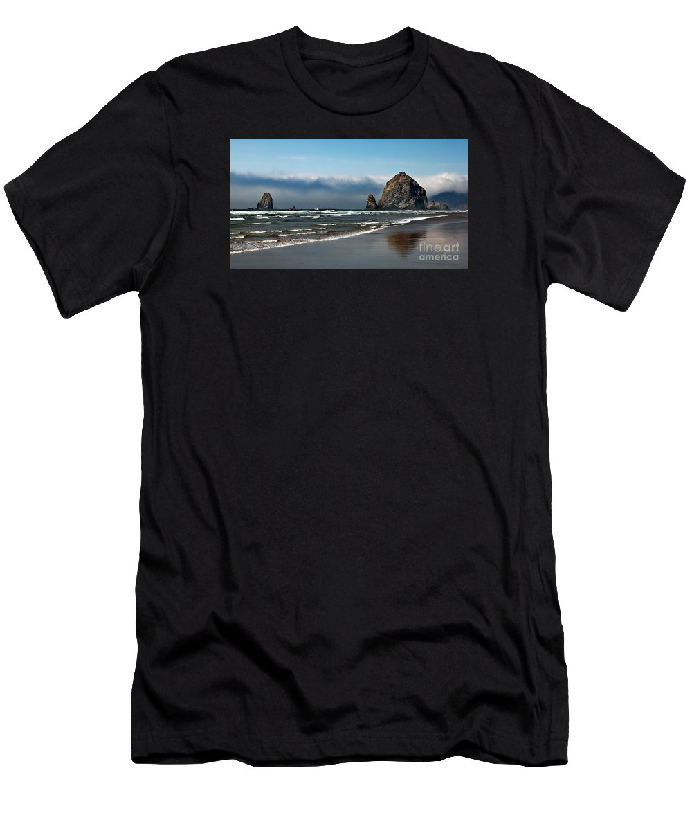 Haystack Rock Men's T-Shirt (Athletic Fit) featuring the photograph Haystack by Robert Bales