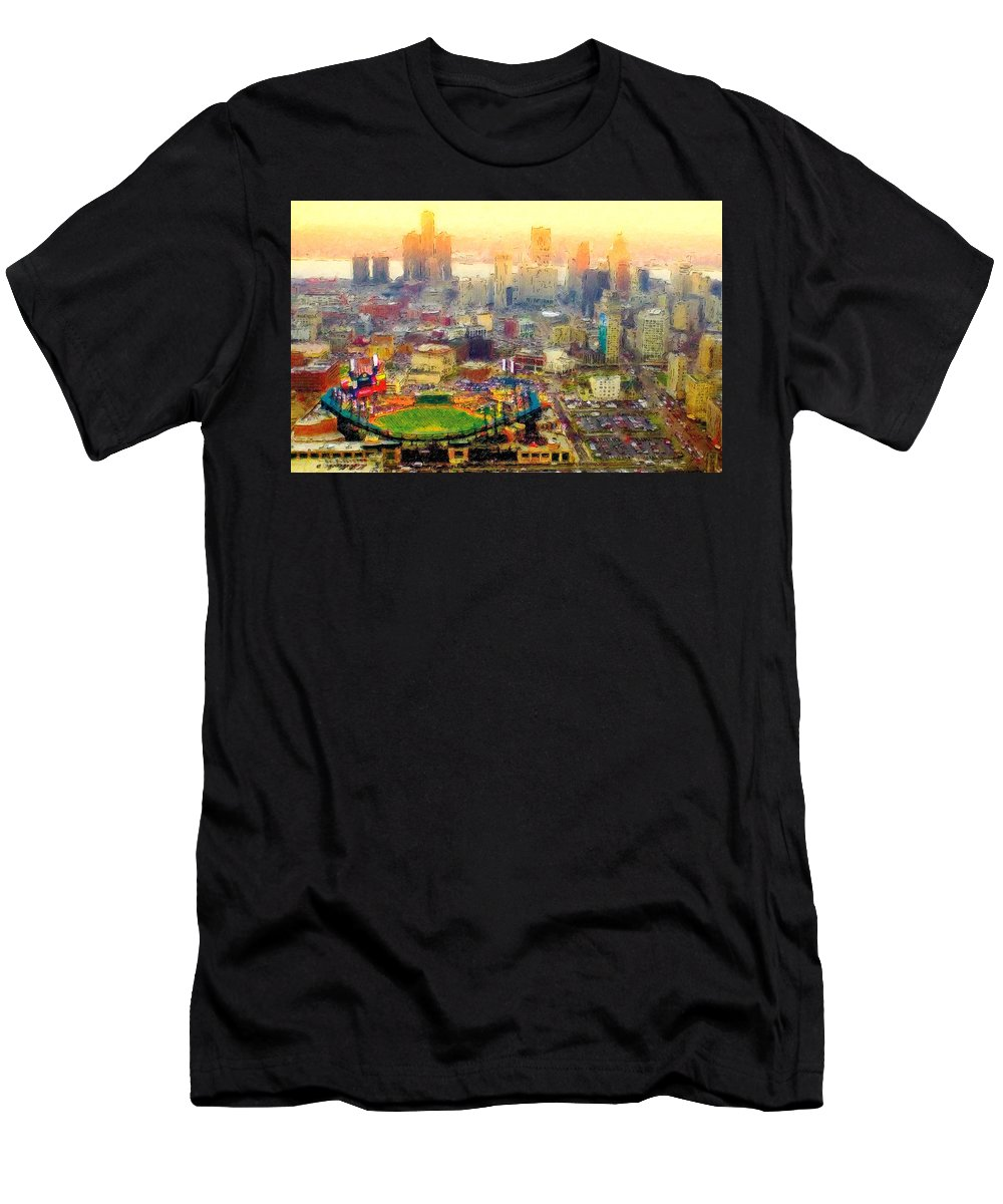 Comerica Men's T-Shirt (Athletic Fit) featuring the painting Haze Over Comerica by John Farr