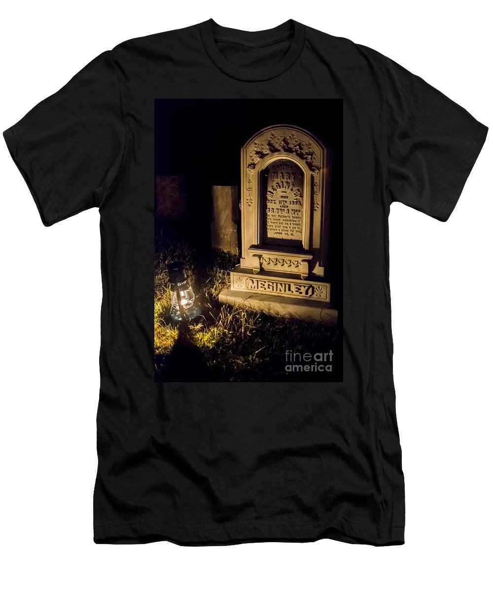 Lantern Men's T-Shirt (Athletic Fit) featuring the photograph Headstone By Lantern Light by Jeffrey Miklush