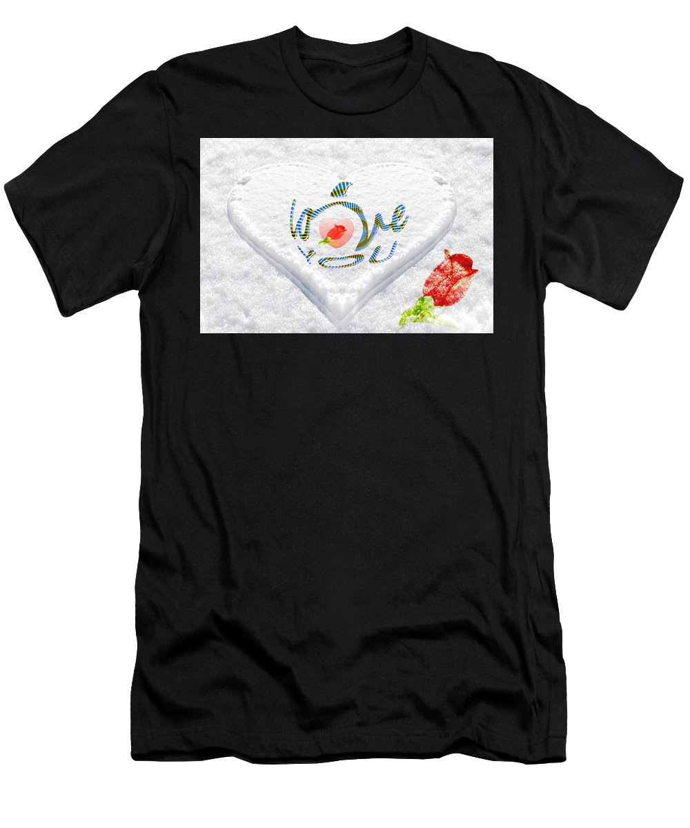 Flower Men's T-Shirt (Athletic Fit) featuring the photograph Heart On Snow With Rose by Govindji Patel