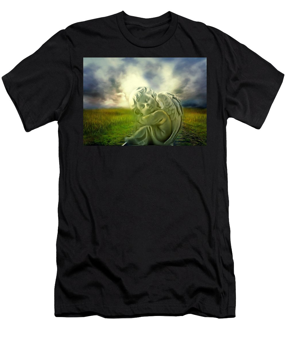 Angel Men's T-Shirt (Athletic Fit) featuring the digital art Heavenly Angels Vintage Cool Version by Georgiana Romanovna