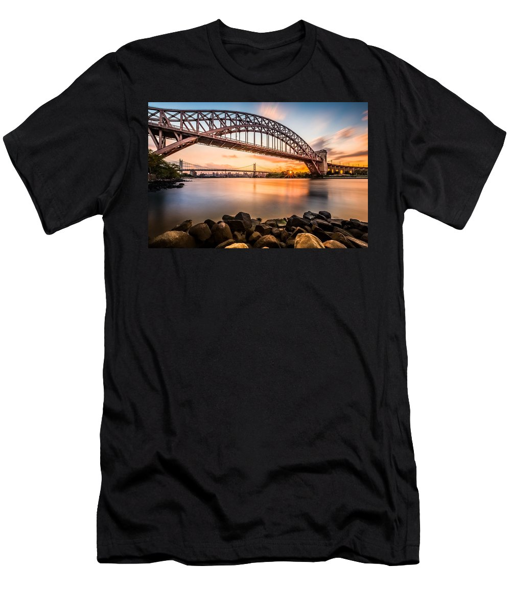 Hell Gate Men's T-Shirt (Athletic Fit) featuring the photograph Hell Gate And Triboro Bridge At Sunset by Mihai Andritoiu