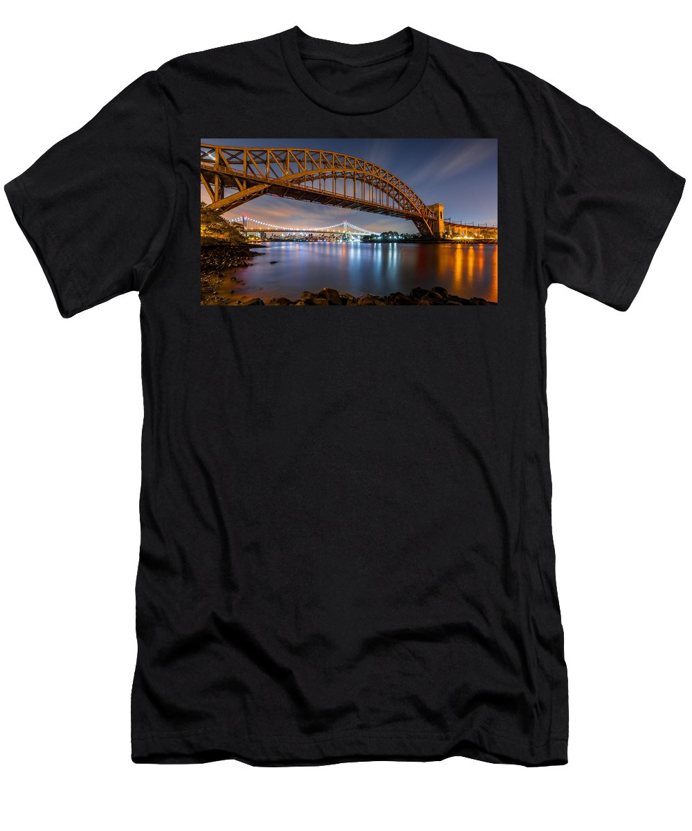 Hell Gate Men's T-Shirt (Athletic Fit) featuring the photograph Hell Gate And Triboro Bridge By Night by Mihai Andritoiu