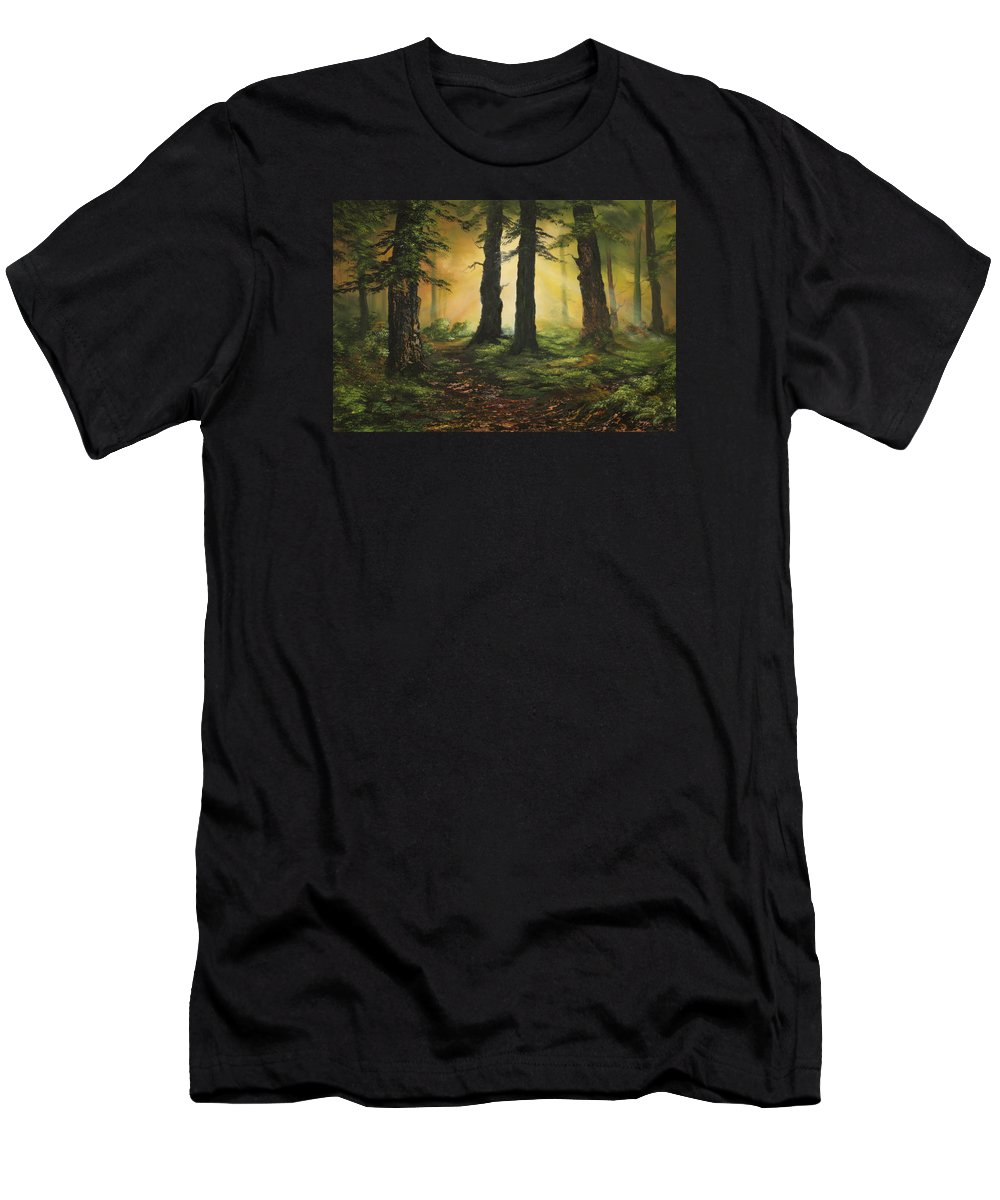 Cannock Chase Men's T-Shirt (Athletic Fit) featuring the painting Here Comes The Sun by Jean Walker