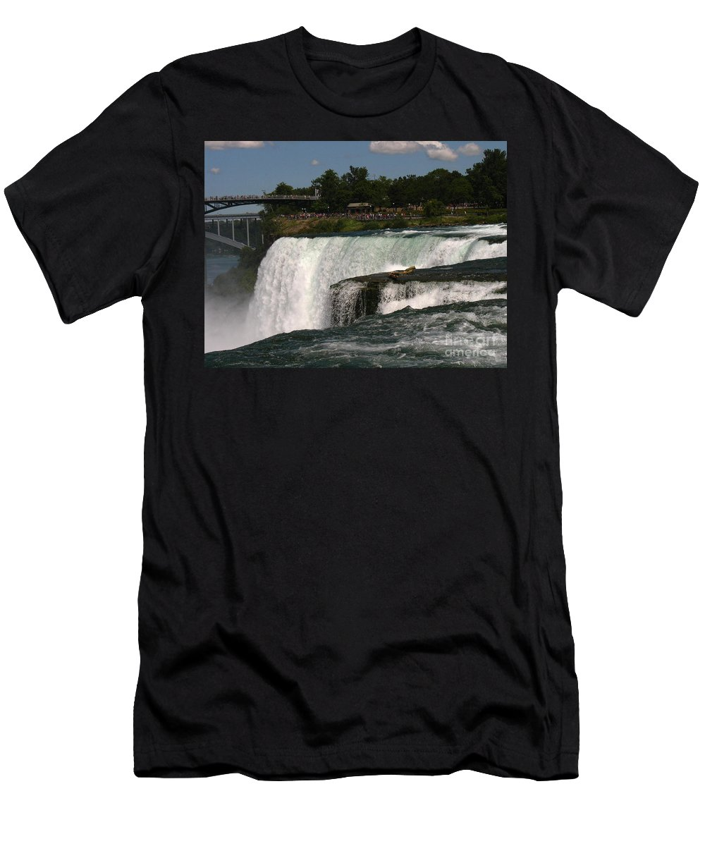 Waterfalls Men's T-Shirt (Athletic Fit) featuring the photograph Here We Go by Jeffery L Bowers