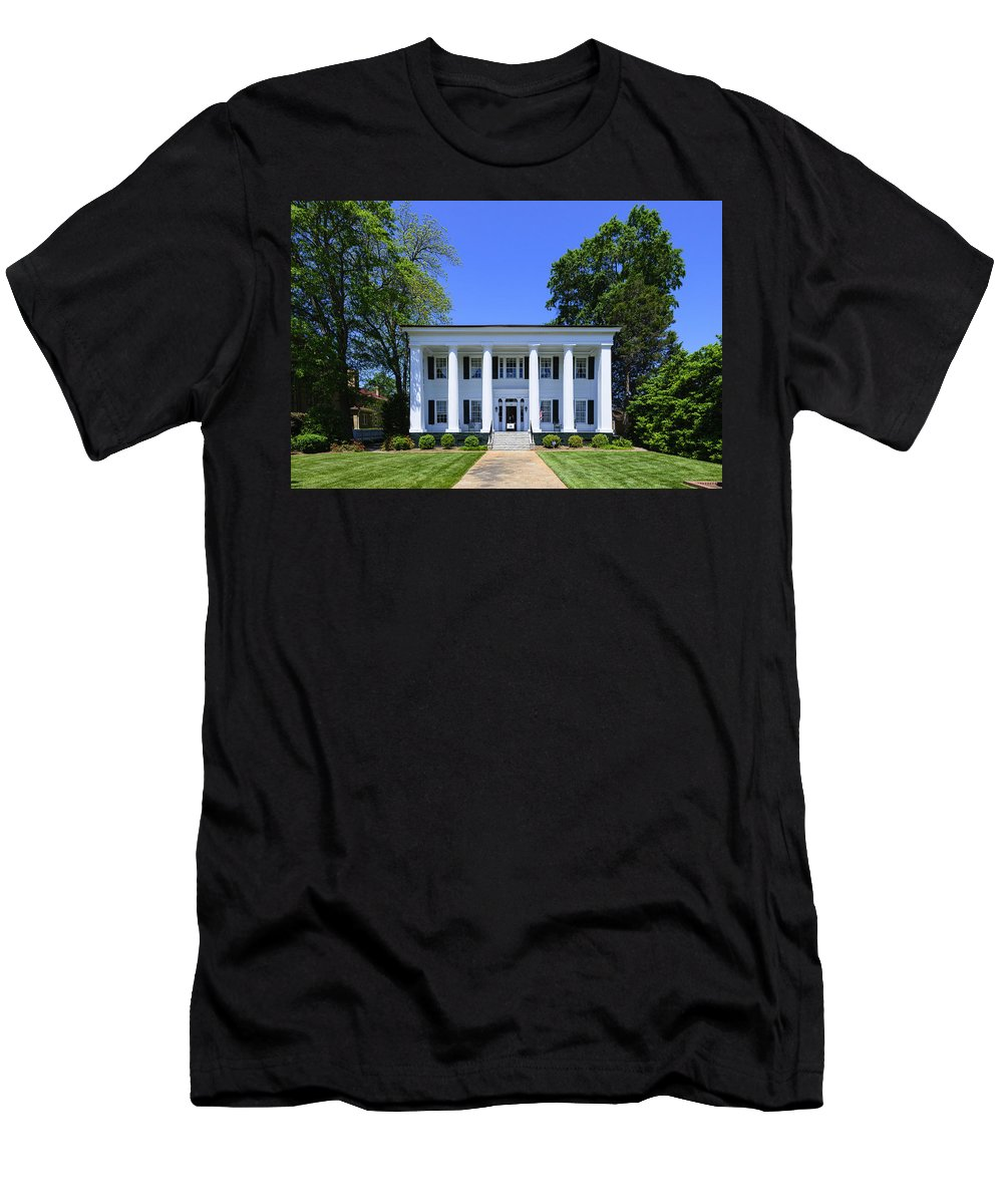 History Men's T-Shirt (Athletic Fit) featuring the photograph Heritage Hall In Madison Georgia by Steve Samples