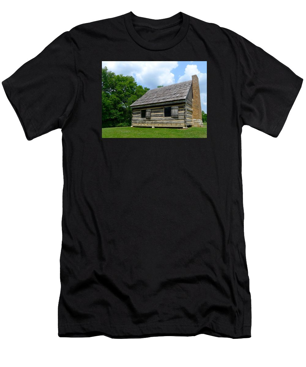 Cabin Men's T-Shirt (Athletic Fit) featuring the photograph Hermitage Farmhouse by Denise Mazzocco