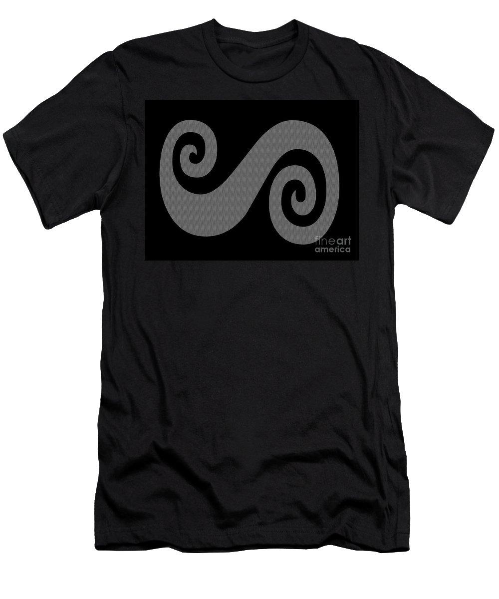 Herringbone Swirl On Black Men's T-Shirt (Athletic Fit) featuring the digital art Herringbone Swirl On Black by Barbara Griffin