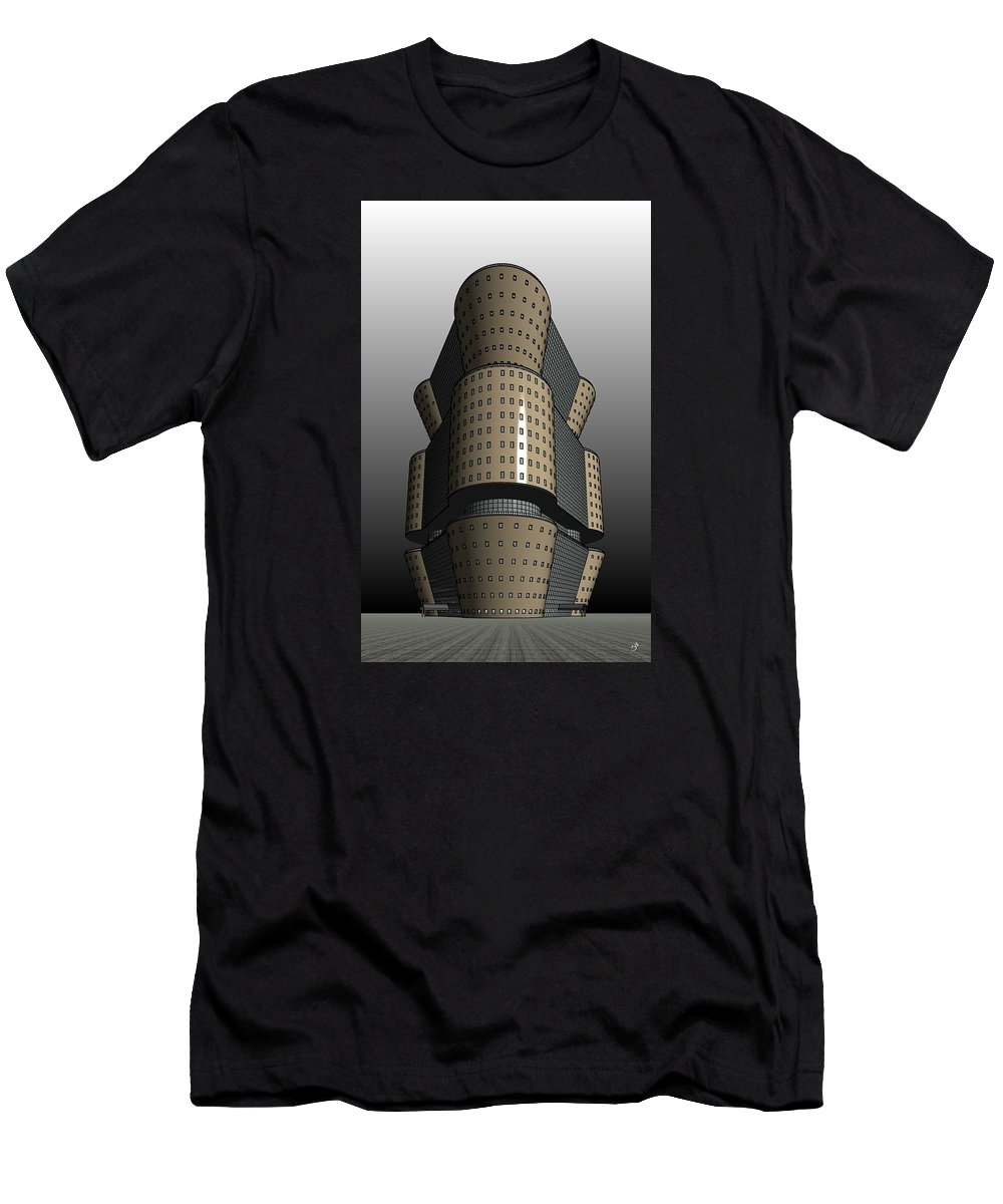 Highrise Men's T-Shirt (Athletic Fit) featuring the digital art Triagonal Building 2 by Ron Bissett