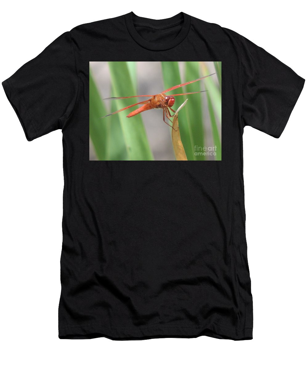 Orange Dragon Fly Men's T-Shirt (Athletic Fit) featuring the photograph Hi Dragon Fly by John Wilson