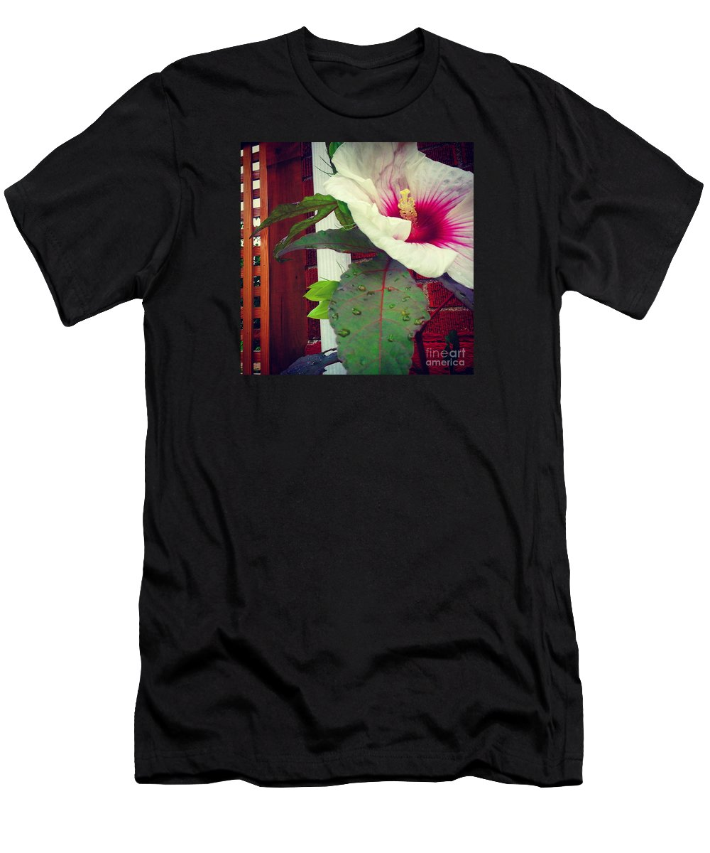 Hibiscus Men's T-Shirt (Athletic Fit) featuring the photograph Hibiscus Flower In Bloom by Charlie Cliques