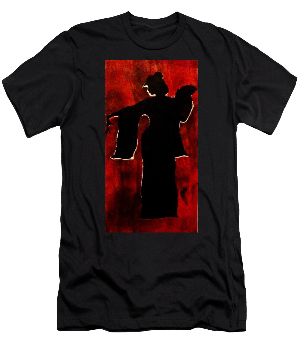 Geisha Men's T-Shirt (Athletic Fit) featuring the painting Hidden In Shadows by Crystal Menicola