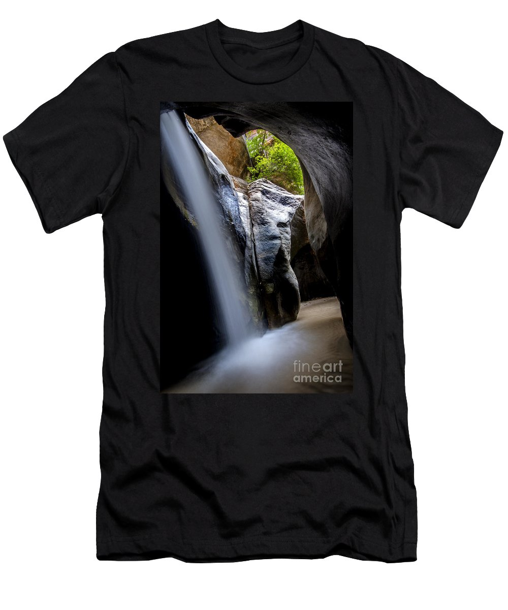 Waterfall Men's T-Shirt (Athletic Fit) featuring the photograph Hidden Splendor by Bob Christopher
