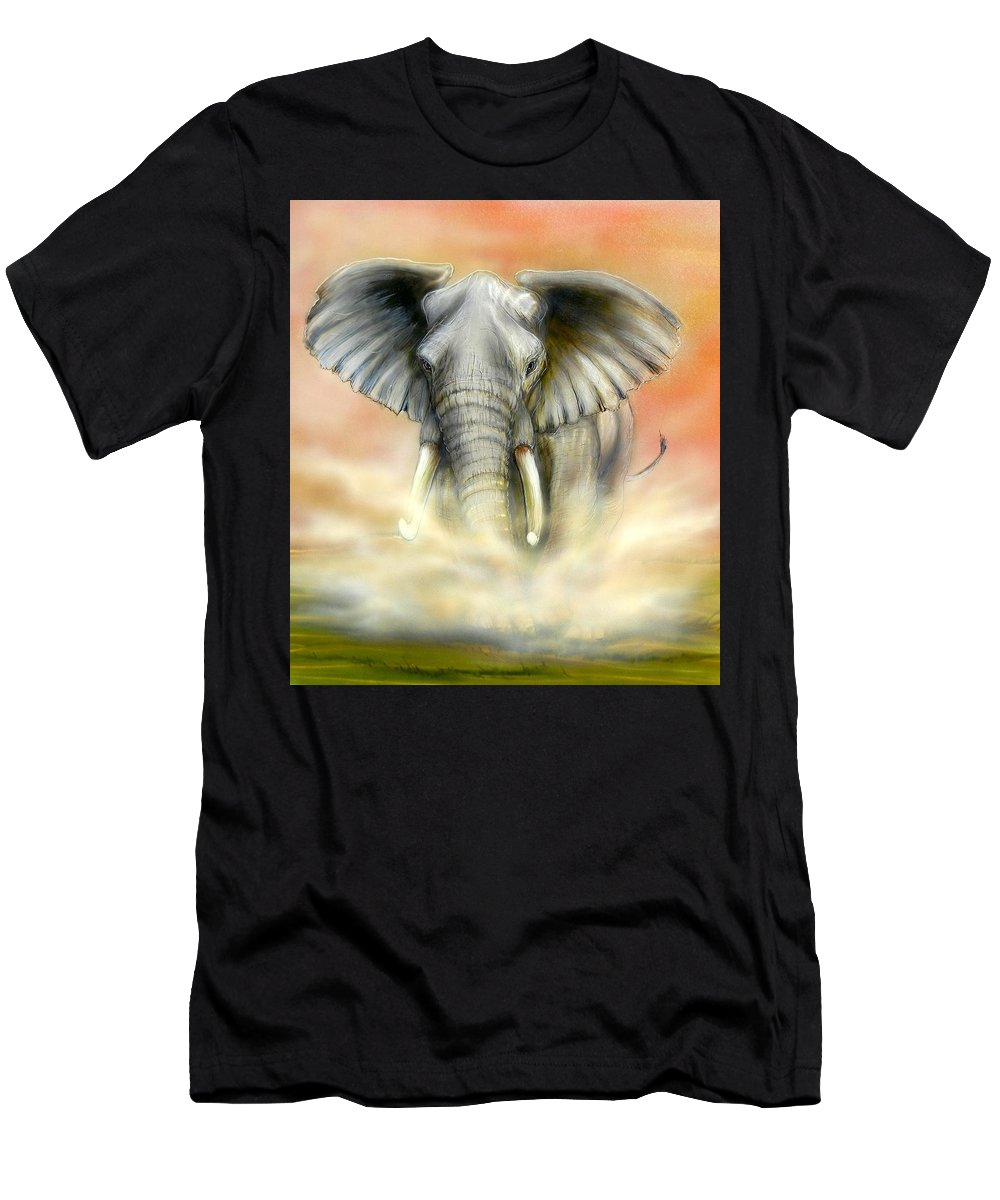 African Elephant Men's T-Shirt (Athletic Fit) featuring the painting High Alert by Hank Bufkin