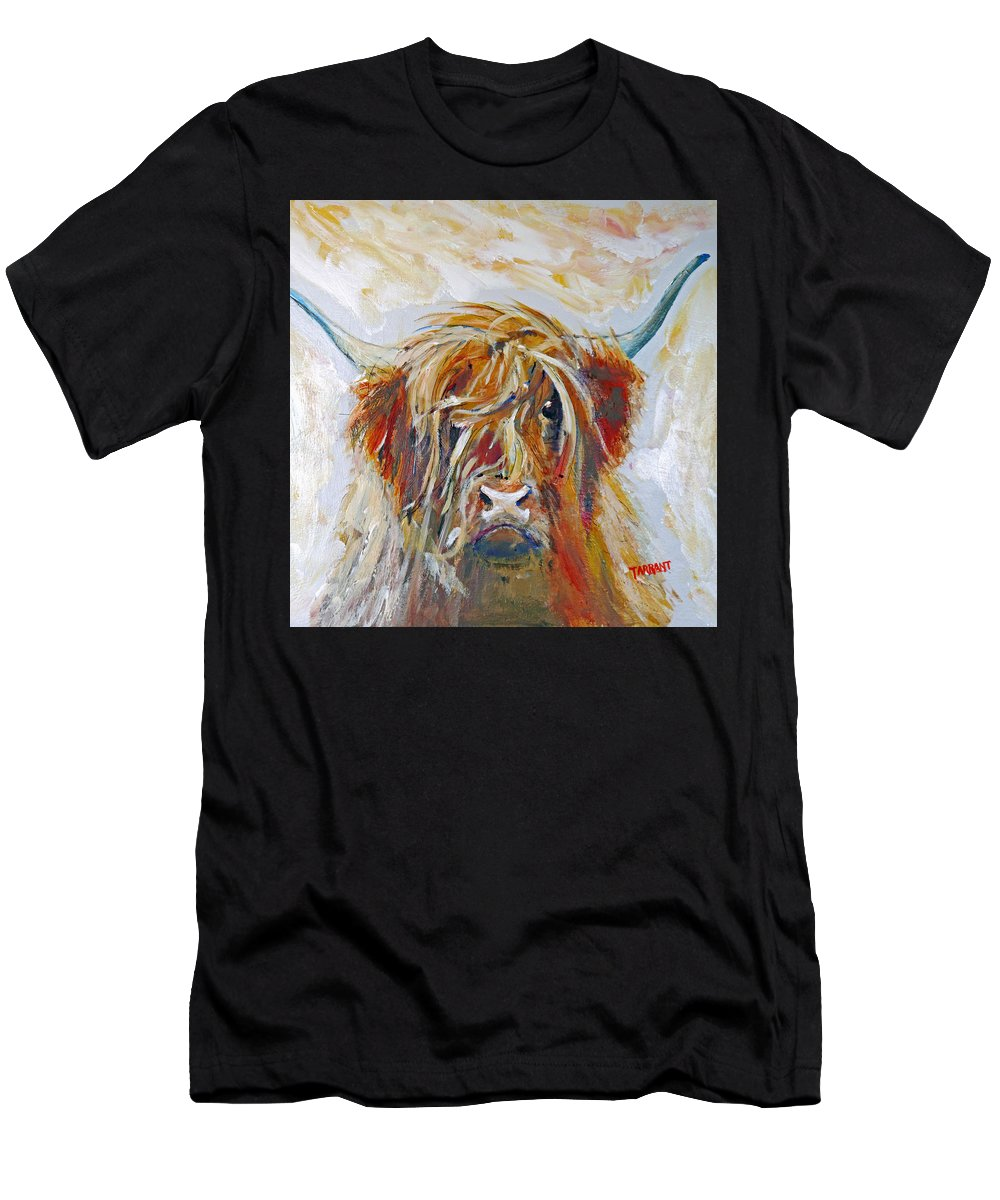 Highland Cow Painting Men's T-Shirt (Athletic Fit) featuring the painting Highland Cow by Peter Tarrant