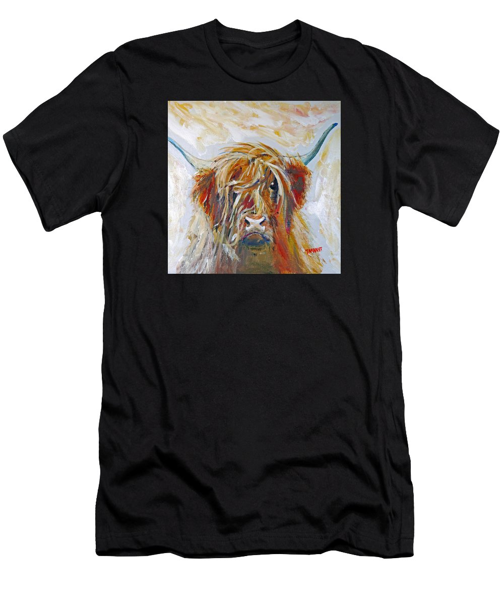 Highland Cow Men's T-Shirt (Athletic Fit) featuring the painting Highland Cow by Peter Tarrant