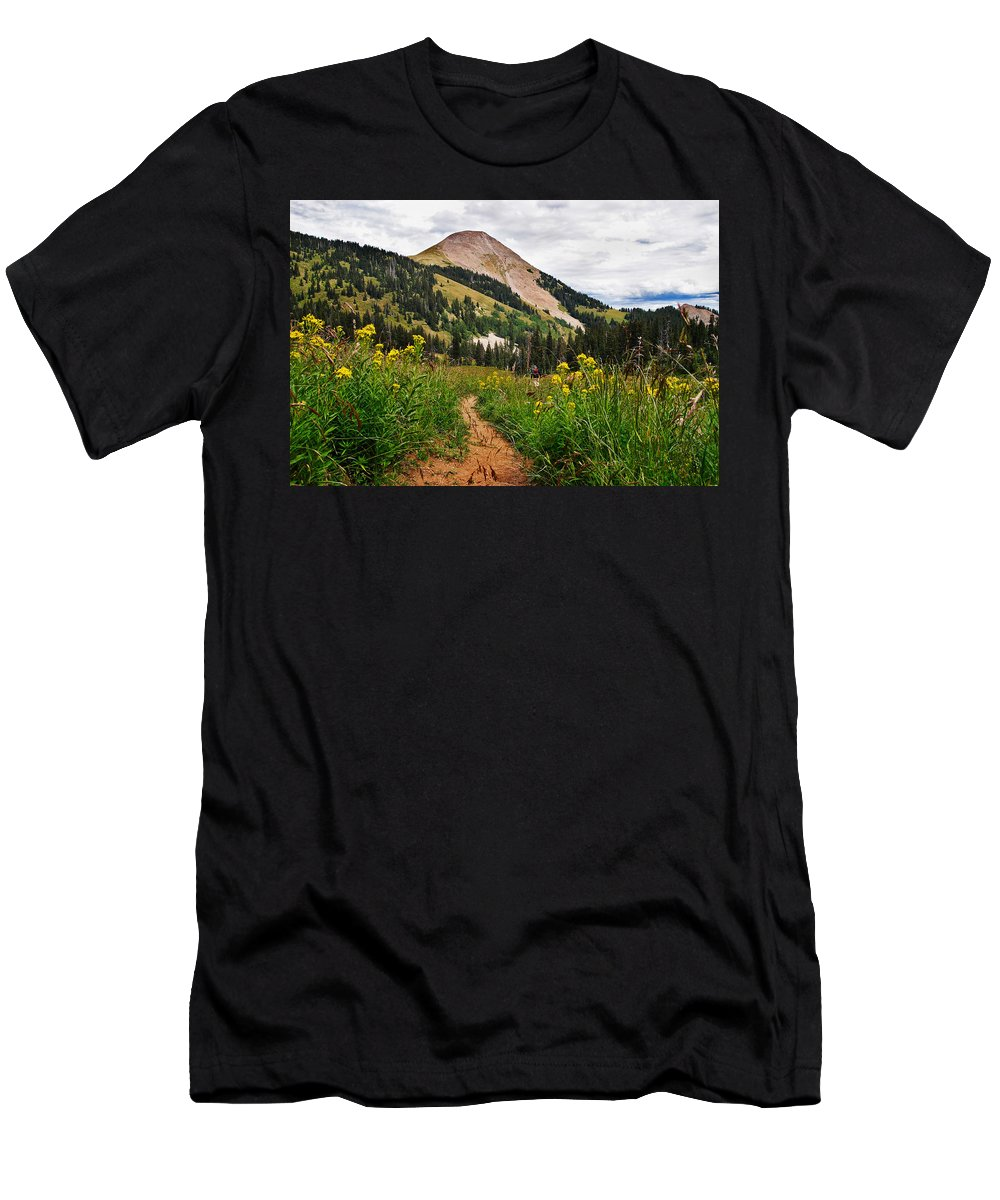 3scape Men's T-Shirt (Athletic Fit) featuring the photograph Hiking In La Sal by Adam Romanowicz
