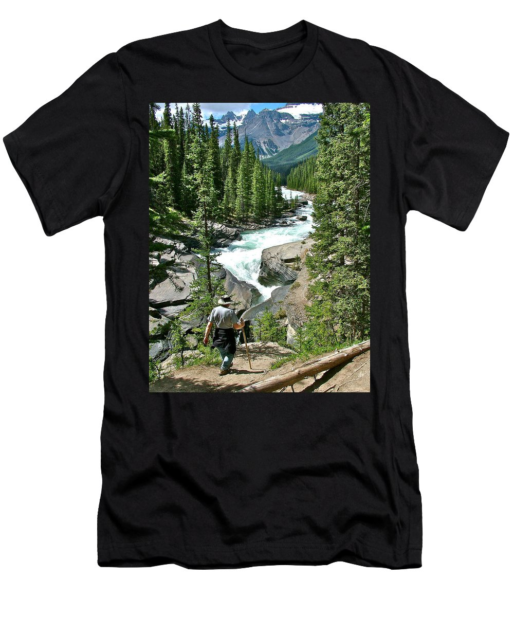 Hiking In Mistaya Canyon Along Icefields Parkway In Alberta Men's T-Shirt (Athletic Fit) featuring the photograph Hiking In Mistaya Canyon Along Icefield Parkway In Alberta by Ruth Hager