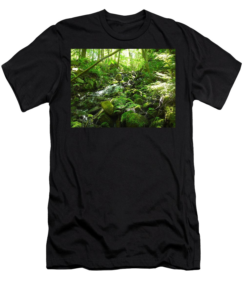 Pocono Men's T-Shirt (Athletic Fit) featuring the photograph Hiking The Falls by Two Bridges North