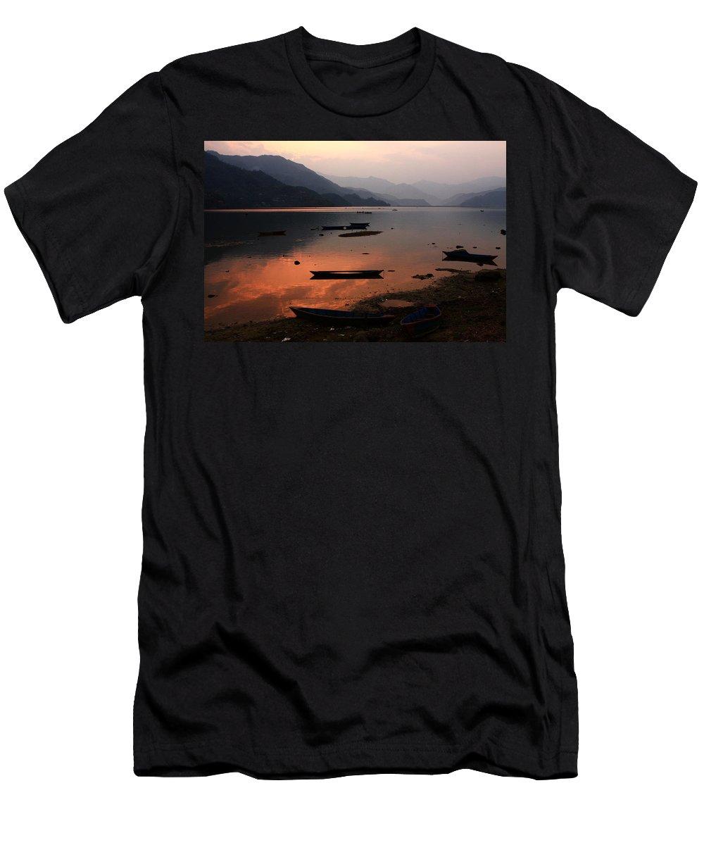 Sunset Men's T-Shirt (Athletic Fit) featuring the photograph Phewa Lake, Pokhara, Nepal by Aidan Moran