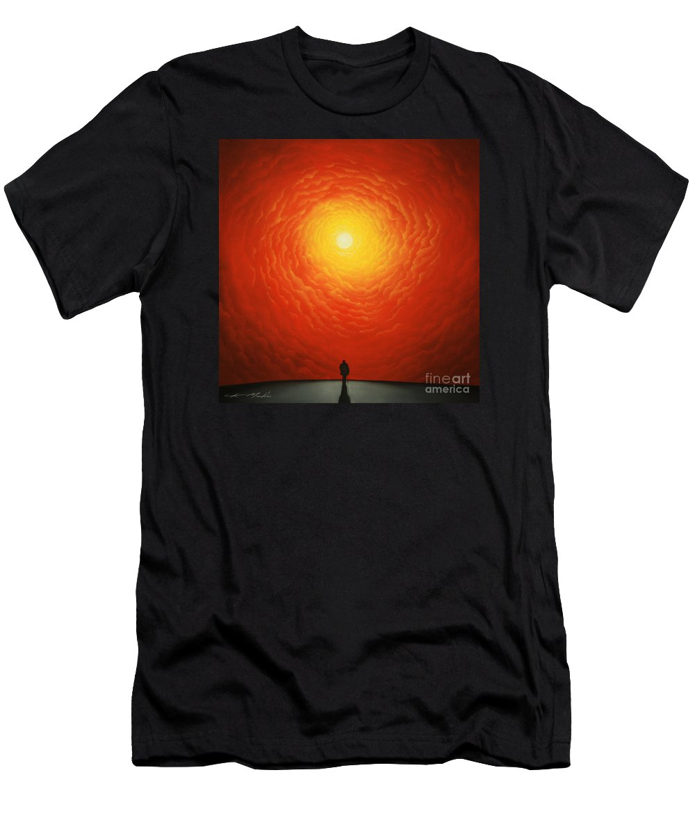 Sunset. Clouds Men's T-Shirt (Athletic Fit) featuring the painting His Final Destiny by Chris Mackie