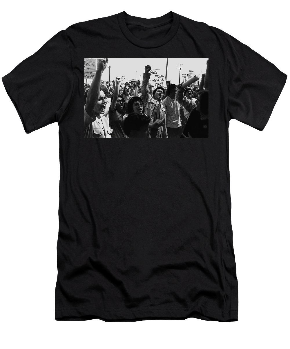 Hispanic Anti-viet Nam War Rally Tucson Arizona 1971 Black And White Men's T-Shirt (Athletic Fit) featuring the photograph Hispanic Anti-viet Nam War Rally Tucson Arizona 1971 Black And White by David Lee Guss