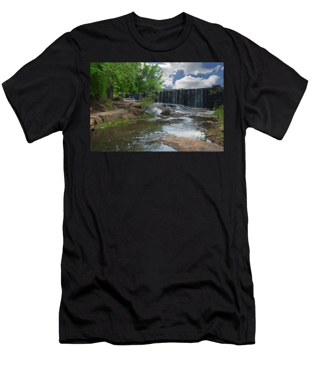 Wright Men's T-Shirt (Athletic Fit) featuring the photograph Historic Yates Mill Dam - Raleigh N C by Paulette B Wright
