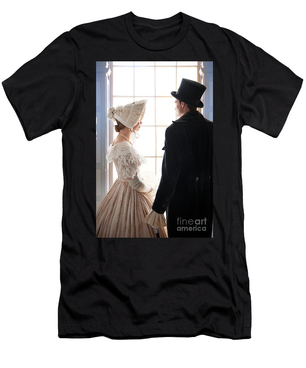 Victorian Men's T-Shirt (Athletic Fit) featuring the photograph Historical Couple Standing By A Window by Lee Avison