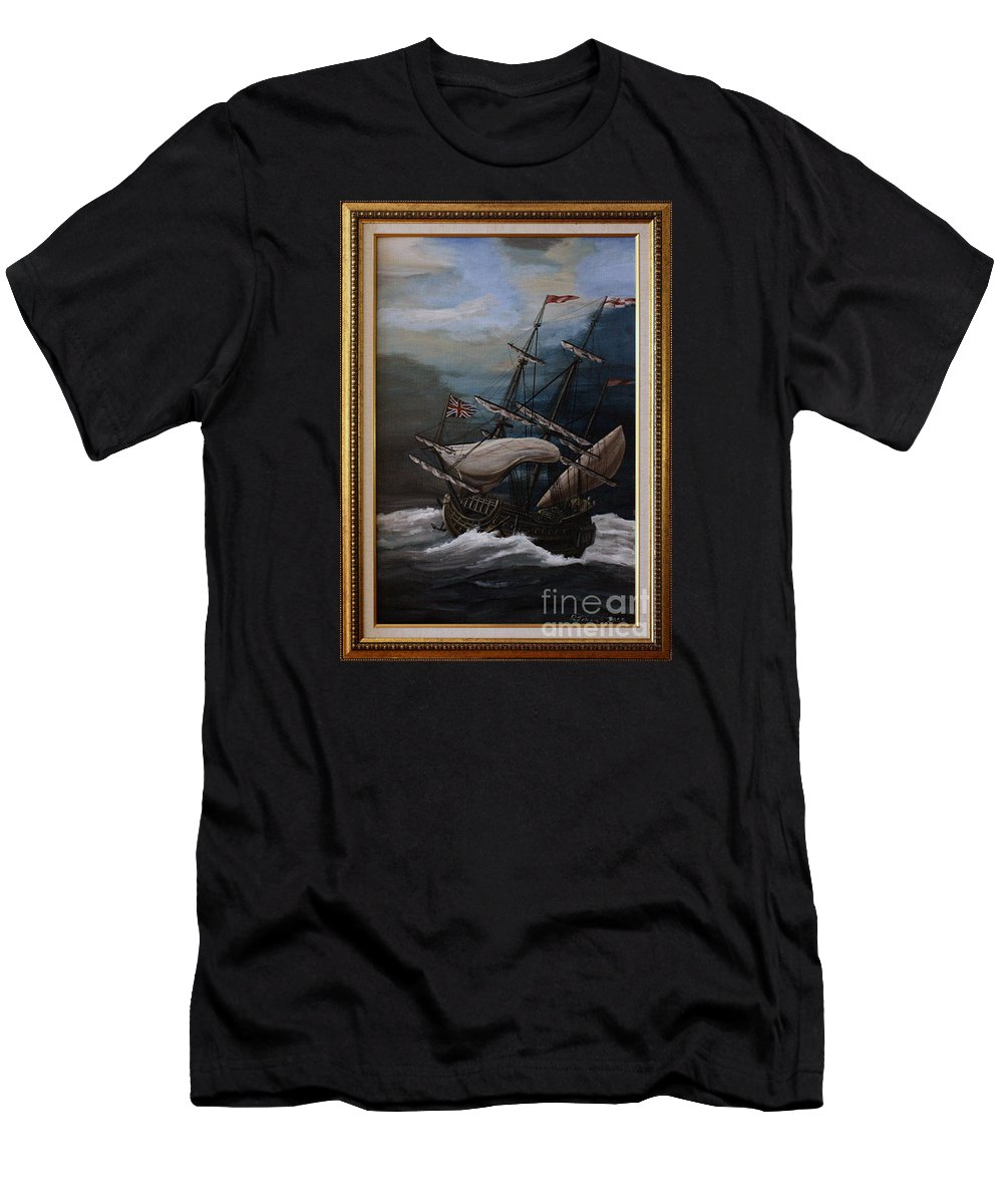 Battle Of Trafalgar Men's T-Shirt (Athletic Fit) featuring the painting Hms Royal Prince 1670 by Richard John Holden RA