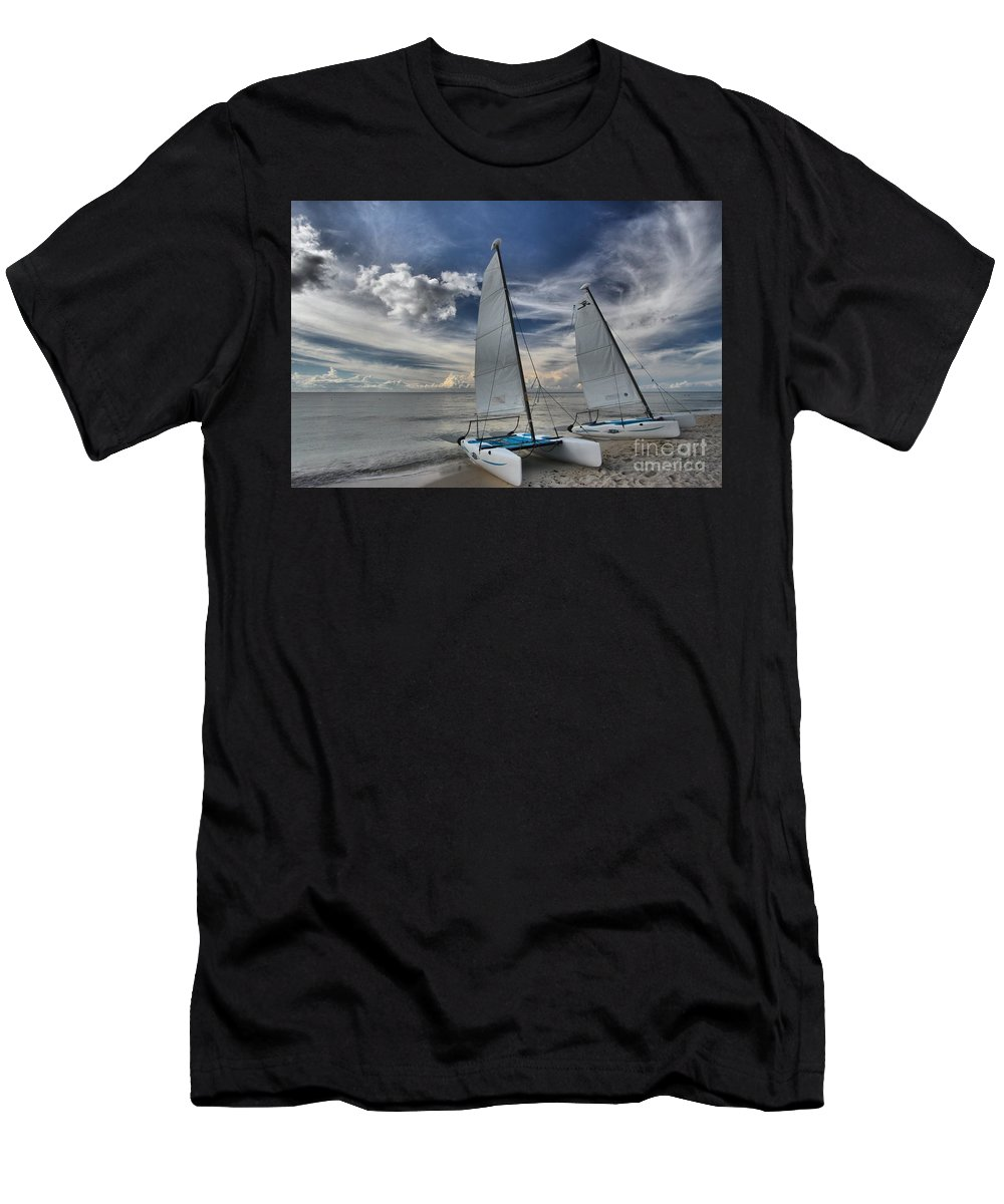 Caribbean Ocean Men's T-Shirt (Athletic Fit) featuring the photograph Hobie Cats On The Caribbean by Adam Jewell