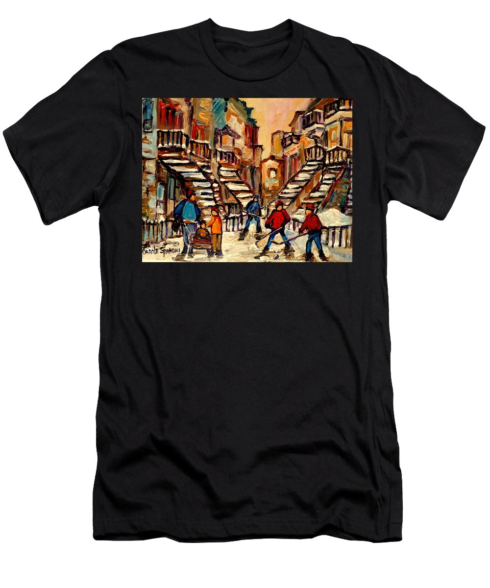 Montreal Men's T-Shirt (Athletic Fit) featuring the painting Hockey Game Near Winding Staircases Montreal Streetscene by Carole Spandau