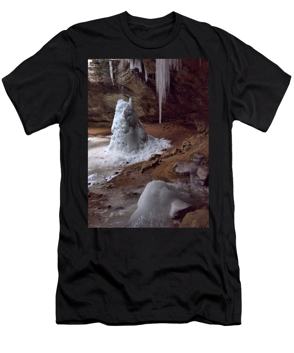 Frozen Waterfall At Ash Cave In Hocking Hills State Park Men's T-Shirt (Athletic Fit) featuring the photograph Hocking Hills Park Frozen by Dan Sproul