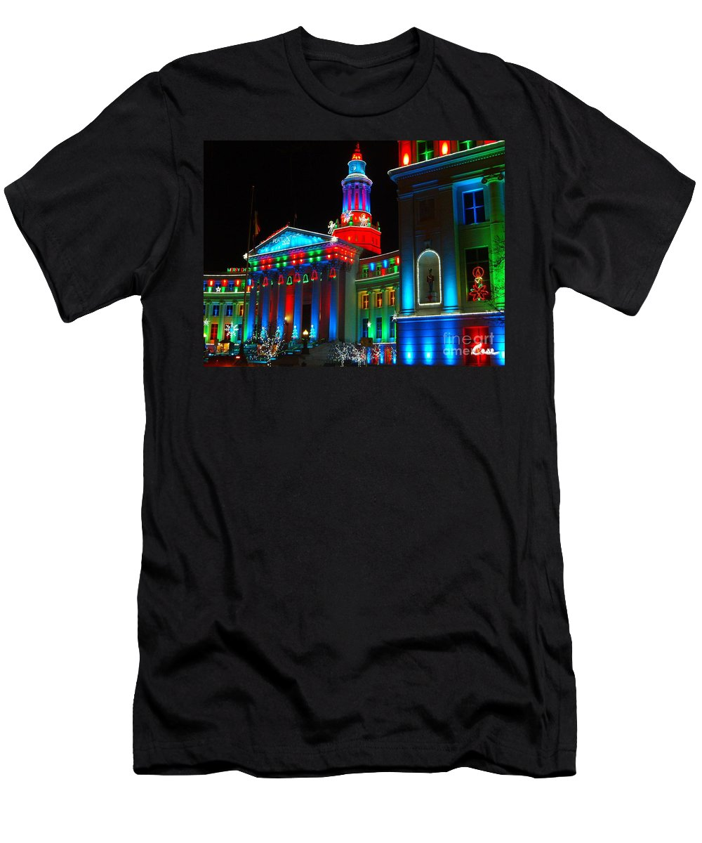 Holiday Lights 2012 Denver City And County Building Men's T-Shirt (Athletic Fit) featuring the photograph Holiday Lights 2012 Denver City And County Building A1 by Feile Case