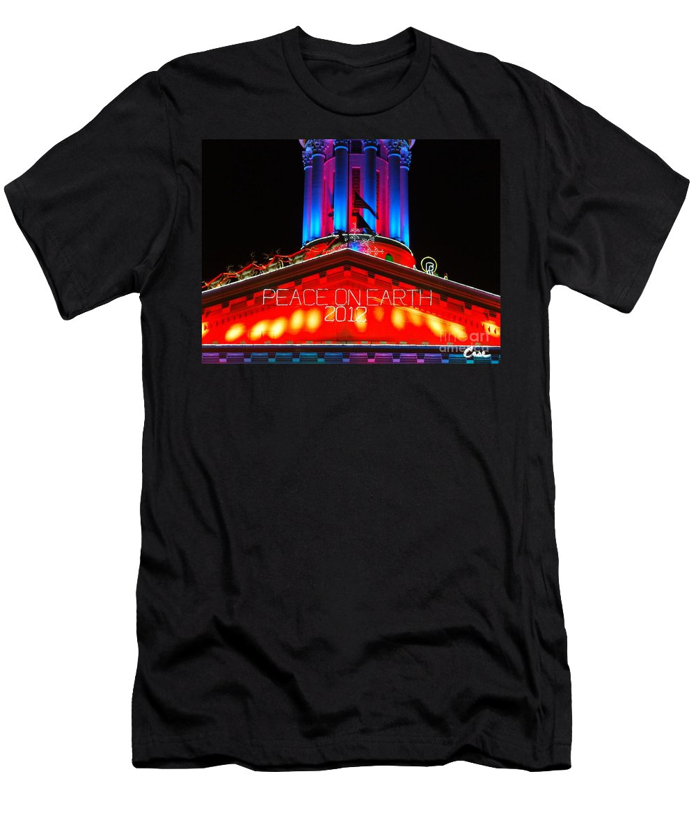 Holiday Lights 2012 Denver City And County Building Men's T-Shirt (Athletic Fit) featuring the photograph Holiday Lights 2012 Denver City And County Building E1 by Feile Case