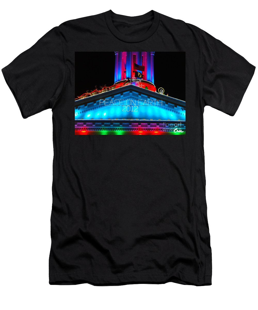 Holiday Lights 2012 Denver City And County Building Men's T-Shirt (Athletic Fit) featuring the photograph Holiday Lights 2012 Denver City And County Building E3 by Feile Case