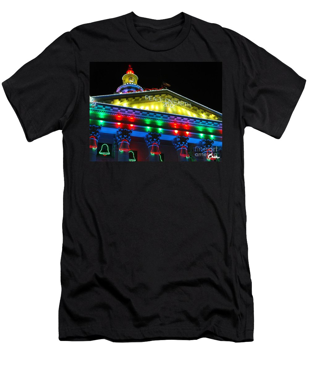 Holiday Lights 2012 Denver City And County Building Men's T-Shirt (Athletic Fit) featuring the photograph Holiday Lights 2012 Denver City And County Building L5 by Feile Case