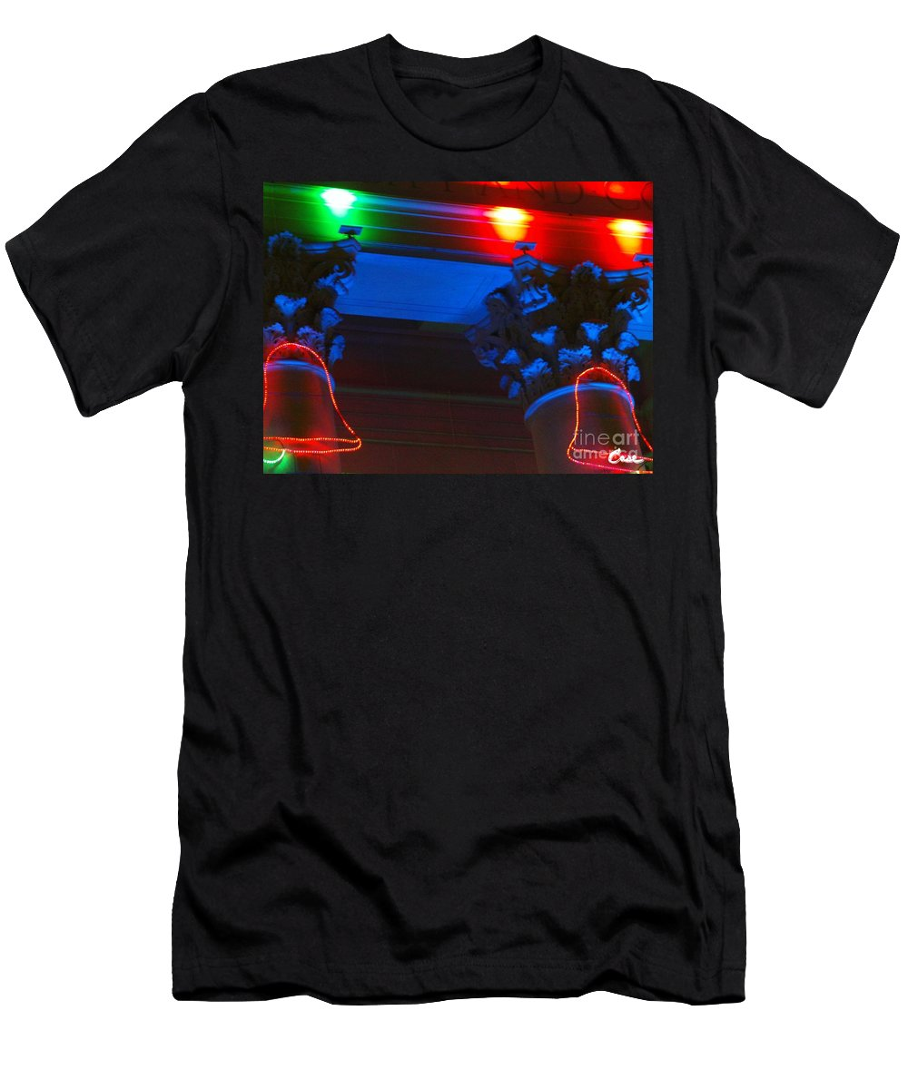 Holiday Lights 2012 Denver City And County Building Men's T-Shirt (Athletic Fit) featuring the photograph Holiday Lights 2012 Denver City And County Building M1 by Feile Case