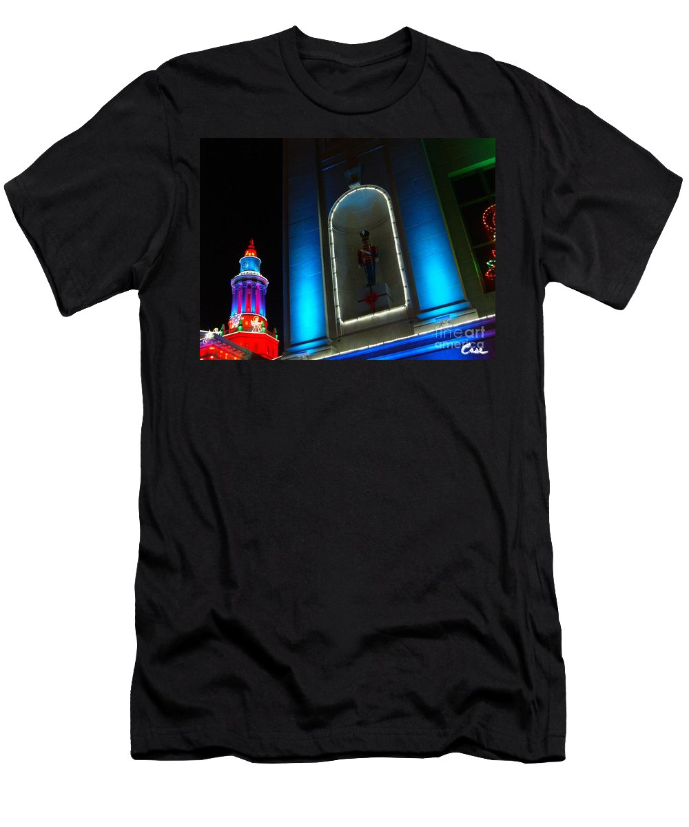 Holiday Lights 2012 Denver City And County Building Men's T-Shirt (Athletic Fit) featuring the photograph Holiday Lights 2012 Denver City And County Building N2 by Feile Case