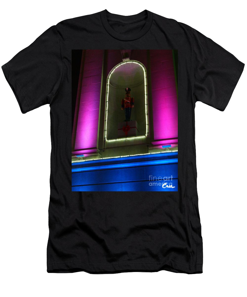 Holiday Lights 2012 Denver City And County Building Men's T-Shirt (Athletic Fit) featuring the photograph Holiday Lights 2012 Denver City And County Building O1 by Feile Case