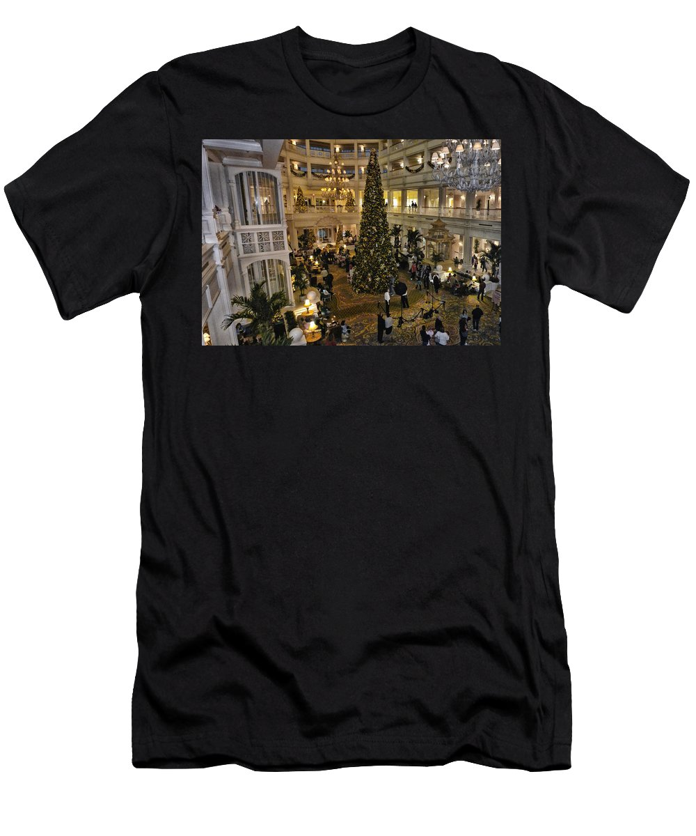 Grand Floridian Resort Men's T-Shirt (Athletic Fit) featuring the photograph Holiday Time Panorama Walt Disney World by Thomas Woolworth